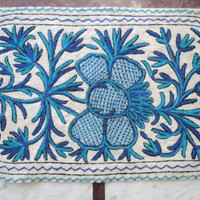 Blue Rug Hand embroidered/2x3 feet/Custom made/carpet/door mat/floor covering/wall hanging/runner/tapestry
