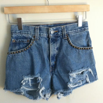 distressed studded high-waisted cutoffs