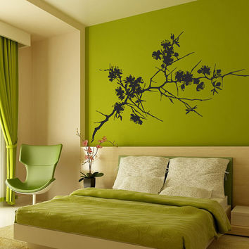 I203 Wall Decal Vinyl Sticker Art Decor Design tree branch cherry blossom spikes leaves nature spring Living Room Bedroom