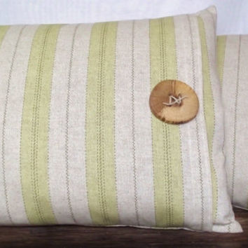 Pillow Cover 12x16 Woven Linen Fabric Celery Green Striped Fabric, Off White / Oatmeal Background.  Wood Button.