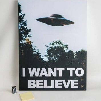 """18"""" x 24"""" X-Files """"I Want To Believe"""" Poster Canvas Gallery Wrap Mulder Scully UFO Dorm"""