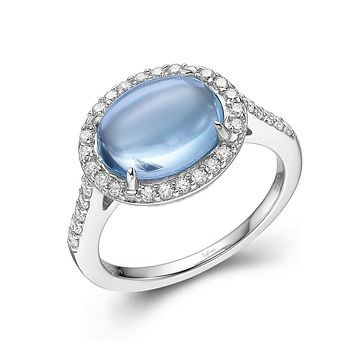 Lafonn Aria Sterling Silver Platinum Plated Lassire Blue Topaz and Simulated Diamonds Womens Ring
