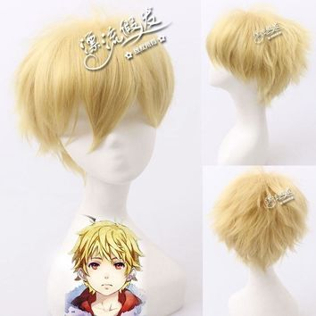 Hot Sale Noragami Yukine Cosplay Wigs 35cm Heat Resistant Synthetic Hair Wig for Man Boys Short Straight Fake Hair Wig Blond