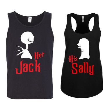 Her JACK - His SALLY Couple Tank Tops + Your NAMES on the back or another text