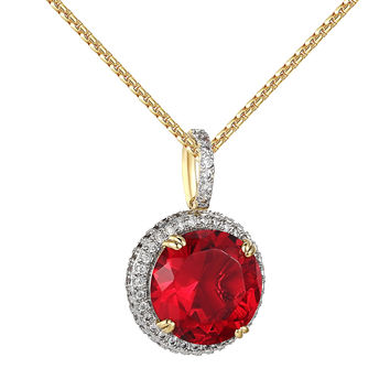 Solitaire Red Ruby CZ Pendant 14k Gold Finish Simulated Diamonds 24 Inch Chain