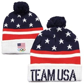 2014 Sochi Olympic Team USA Cuffed Pom Knit - Red/White/Blue Officially licensed