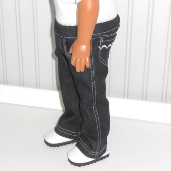 18 inch Doll Clothes Black Denim Jeans with Decorative Pockets and White Stitching American Doll Clothes