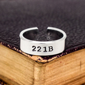 221B - Sherlock - Adjustable Aluminum Cuff Ring A