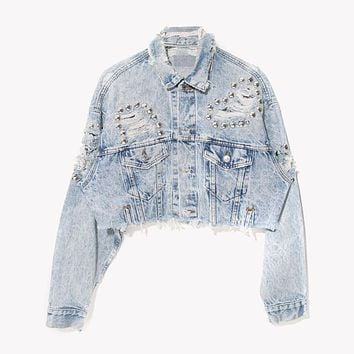 RWDZ Acid Distressed Studded Denim Jacket
