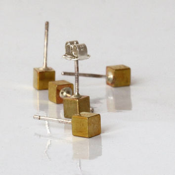 Cube studs earrings ,  Small Brass Cube 4mmX4mm  with sterling silver post , Geometric , Lightweight earrings