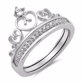 Sterling Silver CZ Simulated Diamond Heart Crown Tiara Ring