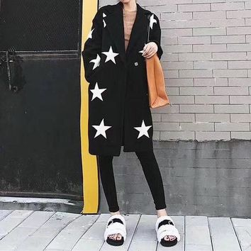ONETOW Givenchy' Women Casual Fashion Five-pointed Star Cardigan Tailored Collar Long Sleeve Middle Long Section Woolen Coat