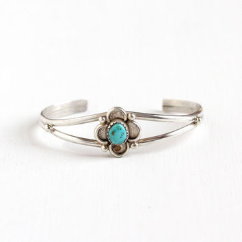 Vintage Sterling Silver Flower Turquoise Cuff Bracelet - Retro 1960s Studded Blue Native American Style Southwestern Boho Tribal Jewelry