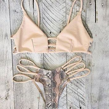 PEAPDQ7 Two Piece Snake Pattern Bikini  Swimwear  Set