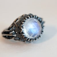 belonging to the darkness. moonstone & sterling silver.