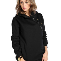 Black Zippered Detail Hoodie