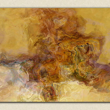 "Large abstract art stretched canvas print, 30x40 giclee in earthy brown and burnt orange, from abstract painting ""The Journey Begins"""