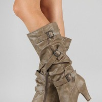Bamboo Verde-66 Buckle Slouchy Knee High Boot
