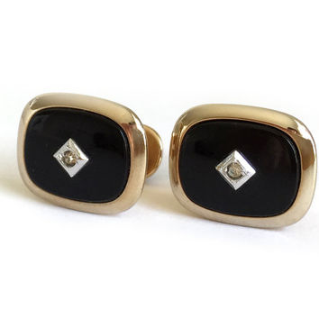Anson Mid Century Cufflinks / 1950s T-Back Cufflinks with Black Onyx Faceted Crystal Rhinestone / Casual, Business or Formal Suit Accessory