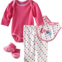 Bon Bebe Baby-girls Newborn Love 4 Piece Pant Set, Hot Pink/Cream, 0-3 Months