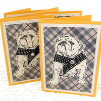 Bulldog Note Cards - Note Card Set - Bulldog Cards - Plaid Cards - Black and Gold Note Cards - Small Note Cards - Bulldog Lover - Rustic
