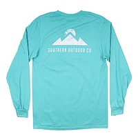 Peak Logo Long Sleeve Tee in Outer Bank Teal by Southern Outdoor Co. - FINAL SALE