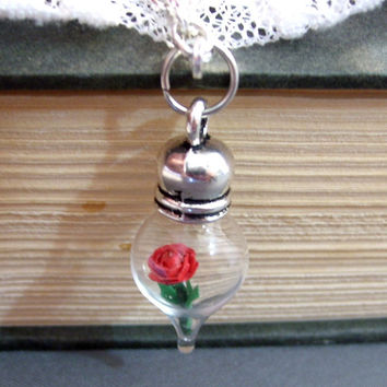Red Rose Glass Teardrop Vial Flower Terrarium Necklace Made to Order