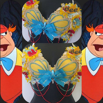 Tweedle Dee & Tweedle Dum Mermaid Seashell Bra: Alice in Wonderland, rave, rave bra, halloween, costume, edm, festival, disney, edc, plur