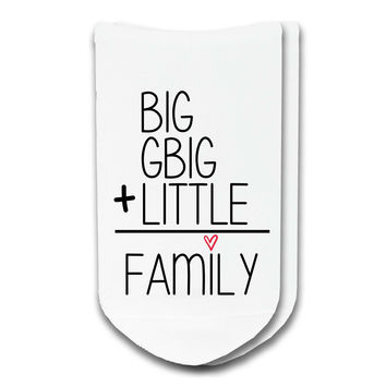 Sorority Custom Socks: Big + GBig + Little = Family No-Show Socks by Sockprints - Big Little Socks - Womens White Socks - Cotton - Eco-Friendly