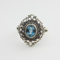 Vintage Sterling Silver Blue Glass Ring