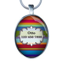 Colorful Pet Id Tag - Beautiful Custom Dog Id Tag- OVAL - Dog Tag Great for Cats and Small Breed Dogs - From California Mutts!