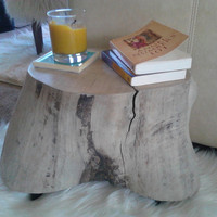 Driftwood, tree Stump end table, Side table, natural finish tree stump stool, log side table, rustic home decor, log furniture