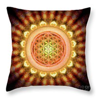 Flower Of Live - Artwork Sun Throw Pillow