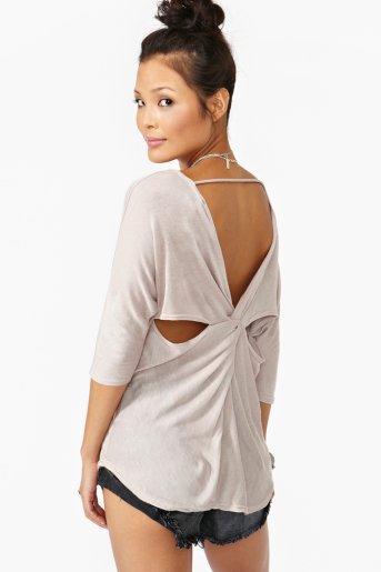 Twisted Cutout Top - Taupe