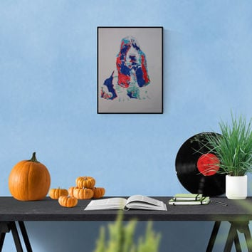 Pop art illustration: Basset Hound, handmade illustration, colorful art, perfect gift for dog lovers, free shipping