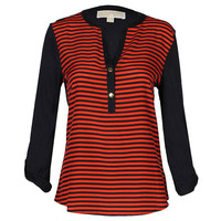 Womens Manderin Boden Stripe Long Sleeved V Neck Top