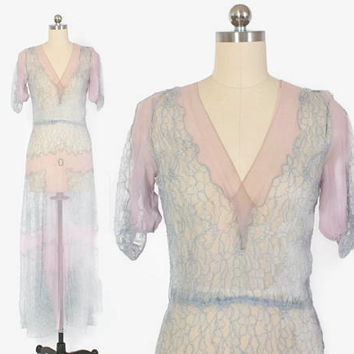 Vintage 30s Lace DRESS / 1930s Sheer Blue Lace & Lavender Silk Crepe Evening Gown XS - S
