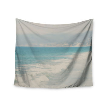 "Laura Evans ""Waves"" Blue Gray Wall Tapestry"