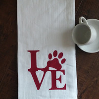 Funny Kitchen Towels - Hand Towel- Dish Cloths - Tea Towels - Flour Sack Towels - Dog Lover Gifts  - Love