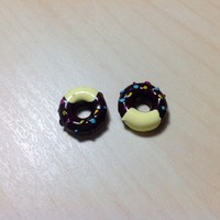 2 pcs Chocolate Donuts with Yellow Frosting & Sprinkles Resin Cabochon Flatbacks 12 x 12 mm