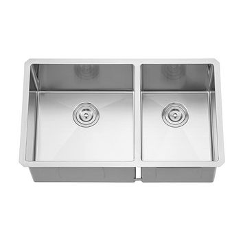 DAX-3219LR10 / DAX HANDMADE 60/40 DOUBLE BOWL UNDERMOUNT KITCHEN SINK, 18 GAUGE STAINLESS STEEL, BRUSHED FINISH