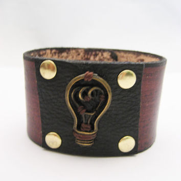 Light Bulb Leather Bracelet Real Leather Jewelry Light bulb Jewelry Light bulb Bracelet Black and Mahogany Leather Cuff On Etsy