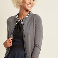 Charter School Crew Neck Cardigan in Slate