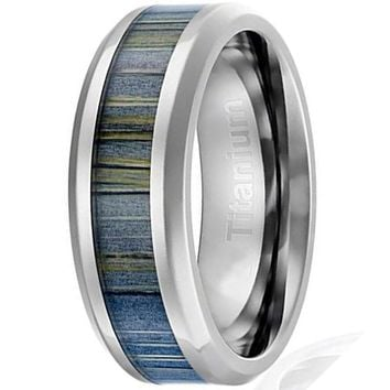 CERTIFIED 8MM Men's Titanium Ring Black and Gray Zebra Wood Inlay | Beveled Edges
