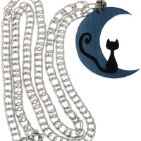 MANCOTÍ MOONCAT Petrol Silver Chain Pendant - ACCESSORIES | JEWELRY | Necklaces | Extra Long | PRET-A-BEAUTE.COM