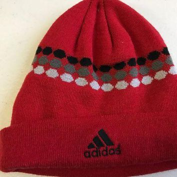 DCCKIHN BRAND NEW MEN'S RED ADIDAS DOTTED KNIT HAT