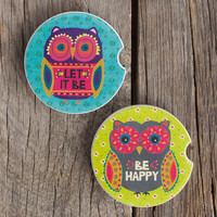 Natural Life Owl Car Coaster Set