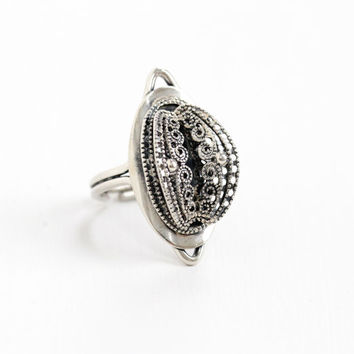 Vintage Sterling Silver Modernist Ring - Retro Filigree Hallmarked Beau Adjustable Statement Navette Shield Metal Work Jewelry