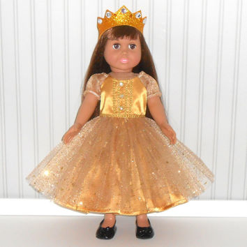 Gold Princess Dress and Crown Halloween Costume for !8 inch Girl Dolls American Doll Clothes
