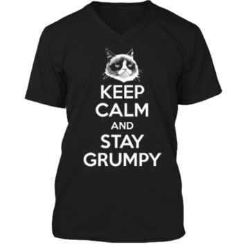 Grumpy Cat Keep Calm And Stay Grumpy Poster Graphic  Mens Printed V-Neck T